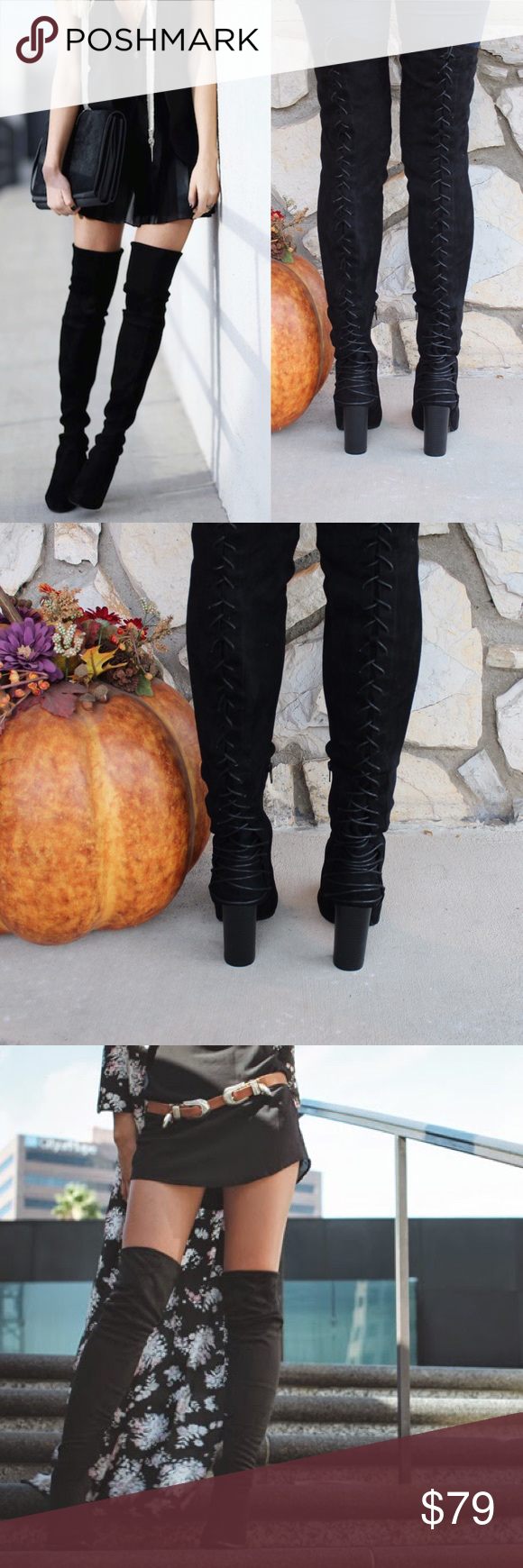 Tight Stretch Lace Up Over Knee Thigh High Boot ⛄️JUST ARRIVED!⛄️Upgrade your simple boots for a subtle and flirty new look!⛄️ Brand New in Box ⛄️All vegan materials ⛄️ 3.25 inch heel ⛄️ Boot is 23 inches tall/26.25 inches tall including the heel ⛄️ 🔴Limited Quantities 🔴 Feel free to ask questions! Shoes Over the Knee Boots