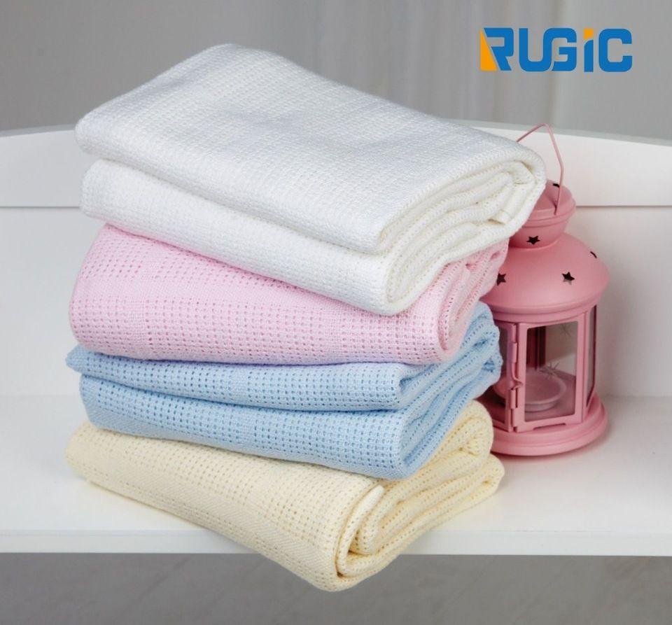 New Winter Moses Basket Crib Pram Cot Bed 100 Cotton Baby Cellular Blanket Cot Blankets White Blanket Cellular Blanket