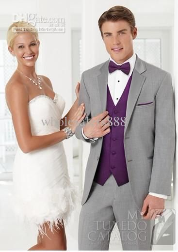 Wholesale Men Suits - Buy New Light Grey Suit Purple Vest Groom ...