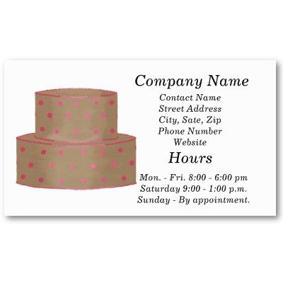 Cake Decorator Business Cards   Template From Http\/\/wwwzazzle   Birthday  Cake  Birthday Cake Card Template