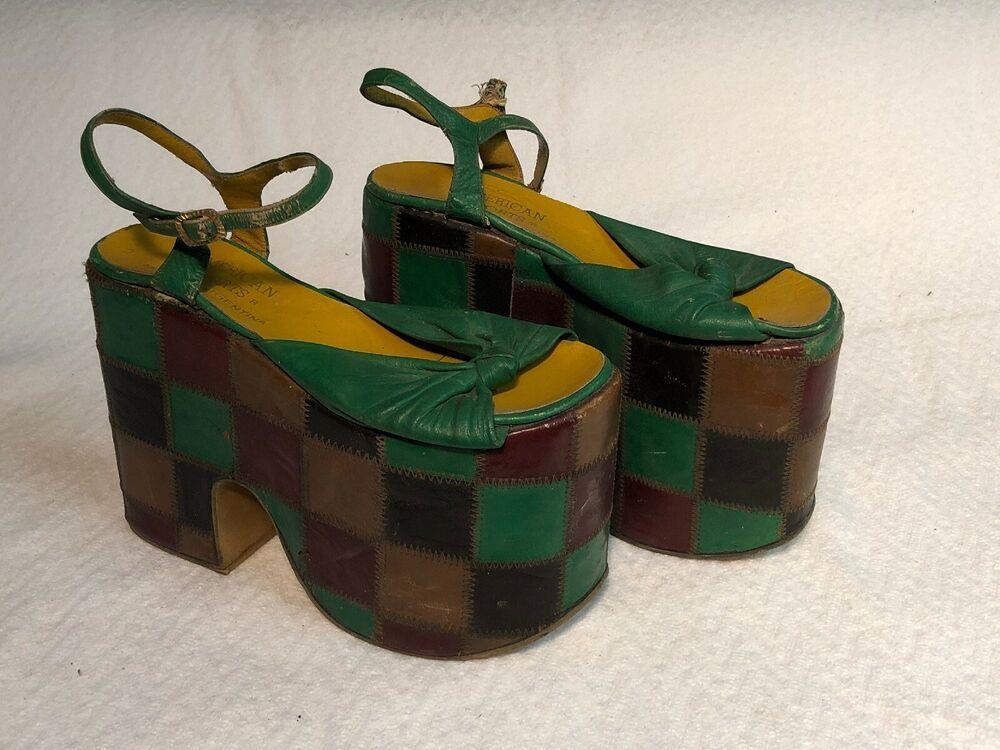 Platform Shoes Green Brown Tan Plaid