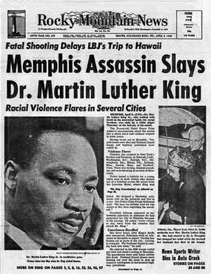 1968 Headline Of The Assassination Of Dr Martin Luther King Jr