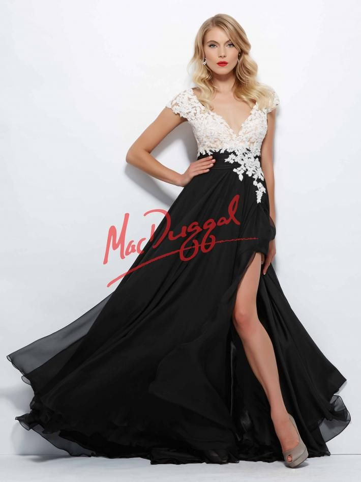 black and white prom dress floral lace mac duggal