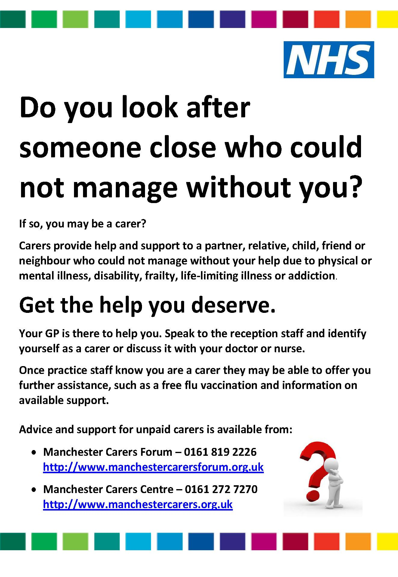 Gp Practice Awareness Poster To Identify Unpaid Carers Carer