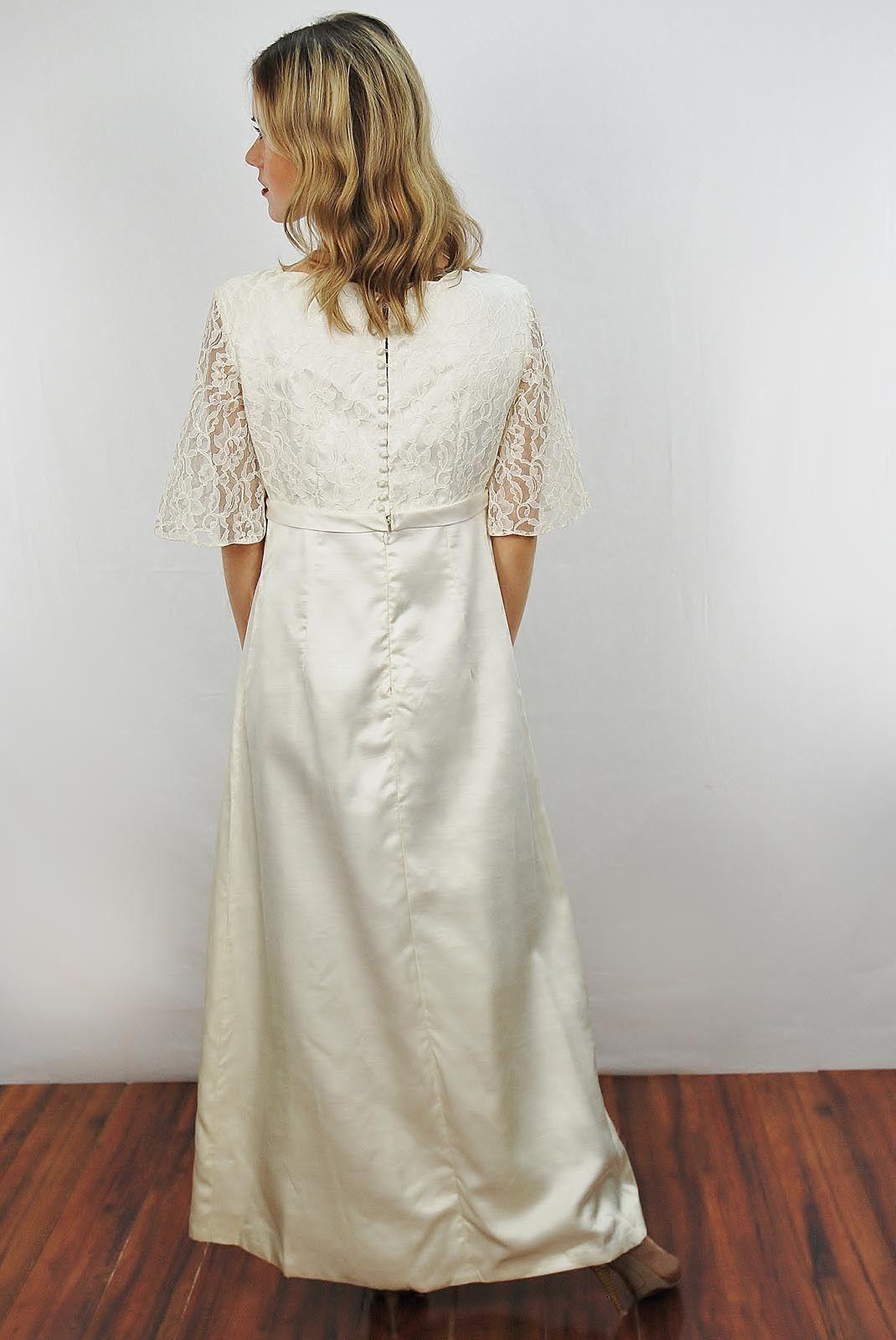 Mod wedding dress  Vtg  s White Lace Slv Mod Empire Wedding Bridal Party Maxi Dress