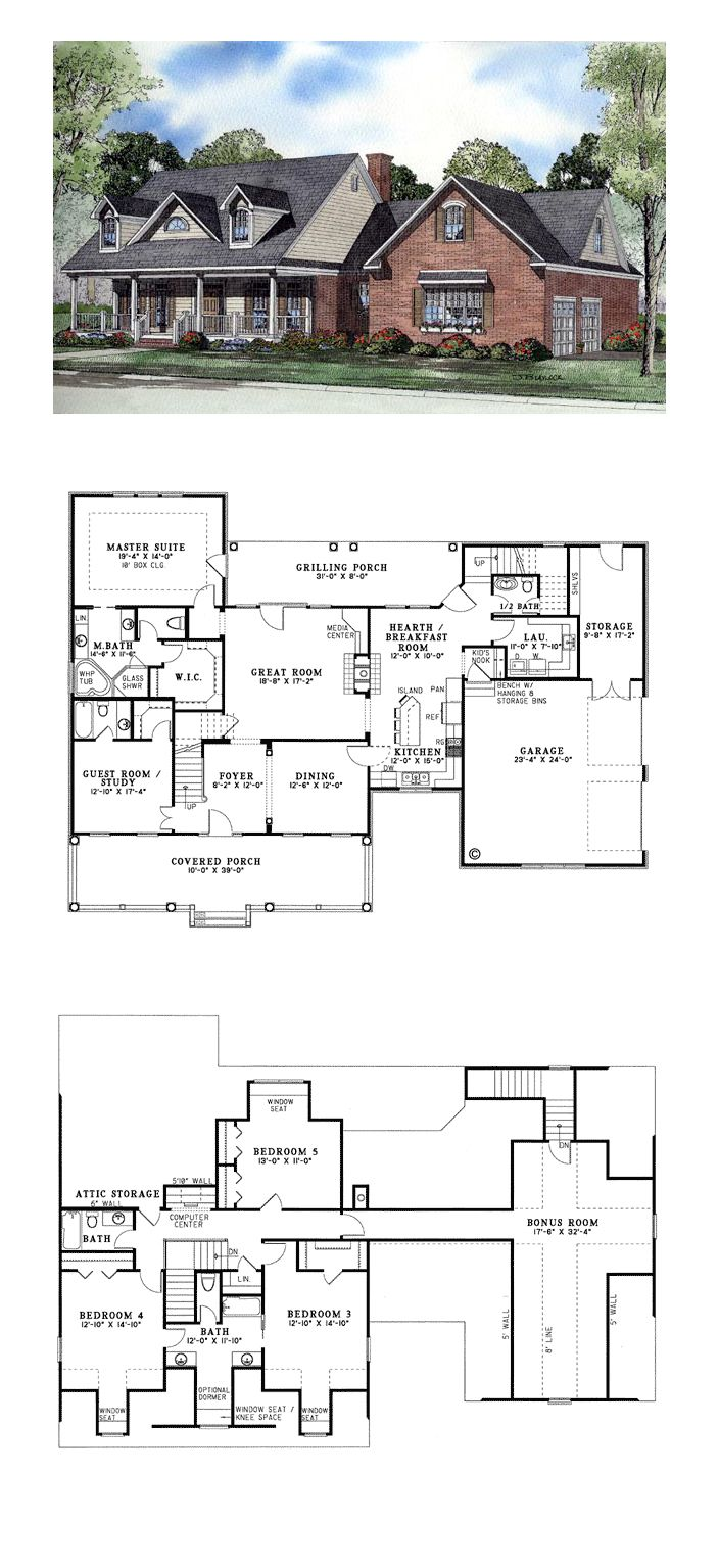 Country Style House Plan 62079 With 5 Bed 5 Bath 2 Car Garage Country Style House Plans Cape Cod House Plans Country House Plans