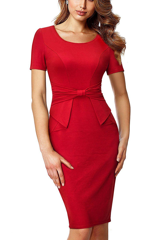 30519cabaeefb HOMEYEE Women's Short Sleeve Pleated Form Fitting Church Dress B426 ...