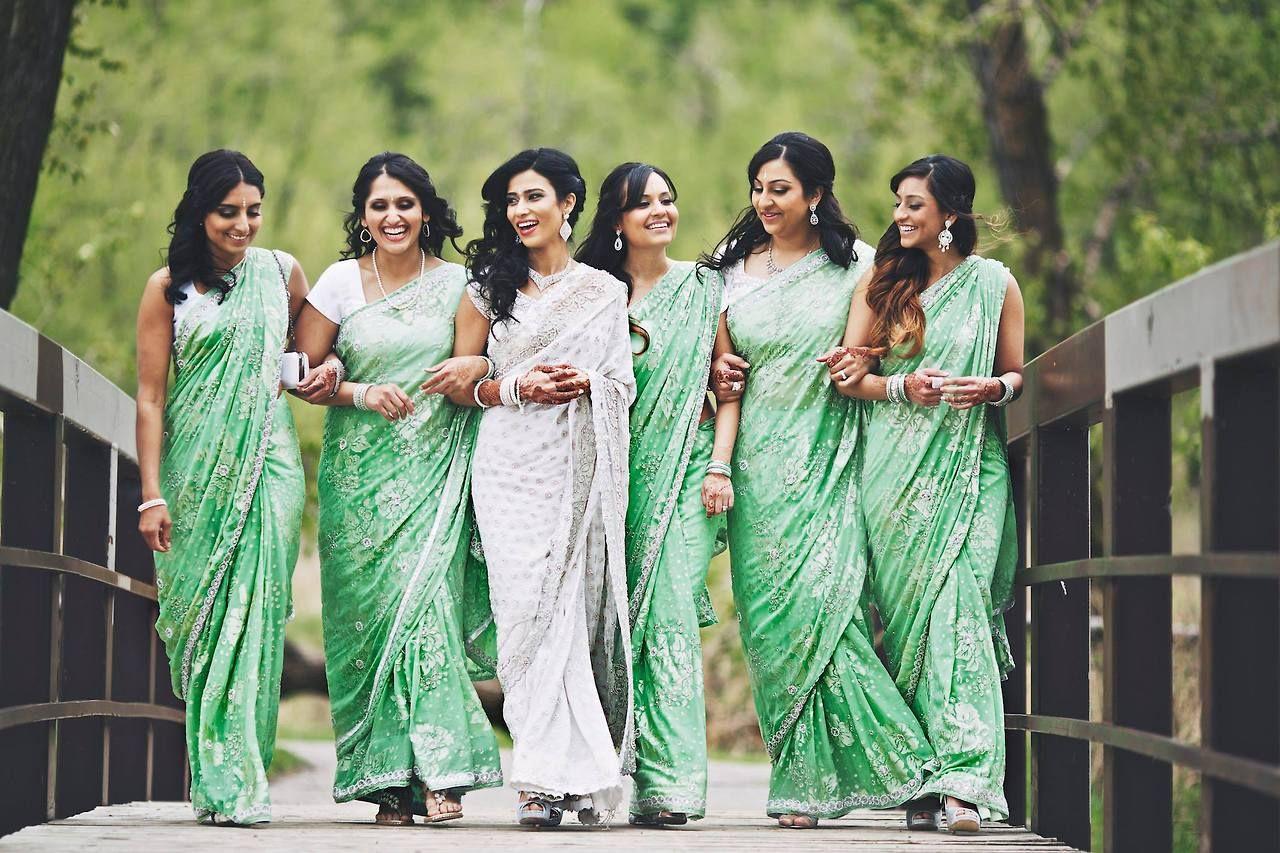 Photo byandras schram green saris for bridesmaids south asian bridesmaid ombrellifo Choice Image