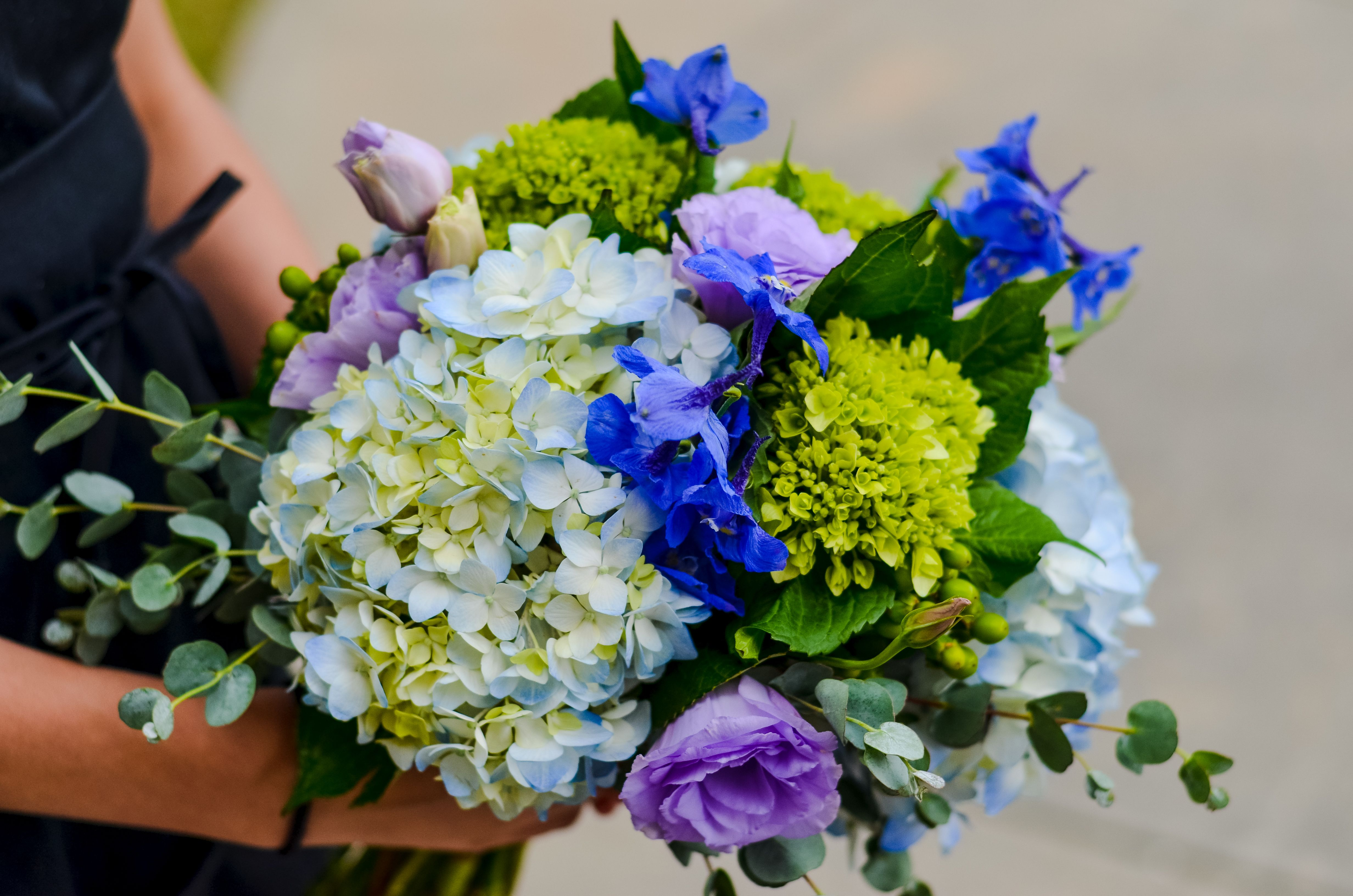 #wedding #Bouquet Of Blue Hydrangea, Mini Green Hydrangea