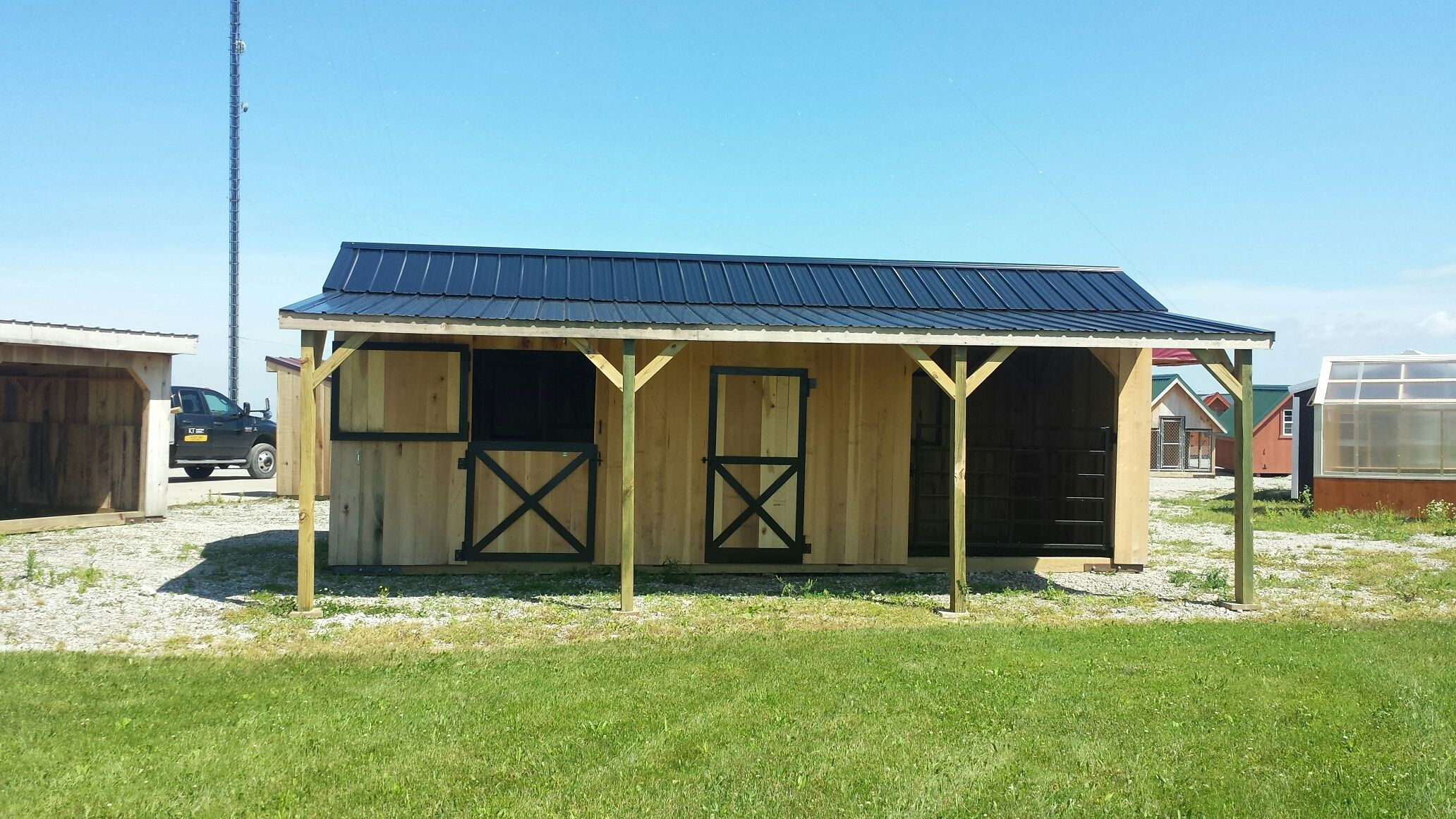 10x26 Portable Horse Barn With 2 Stalls And A Tack Room For Hay And Feed  Storage