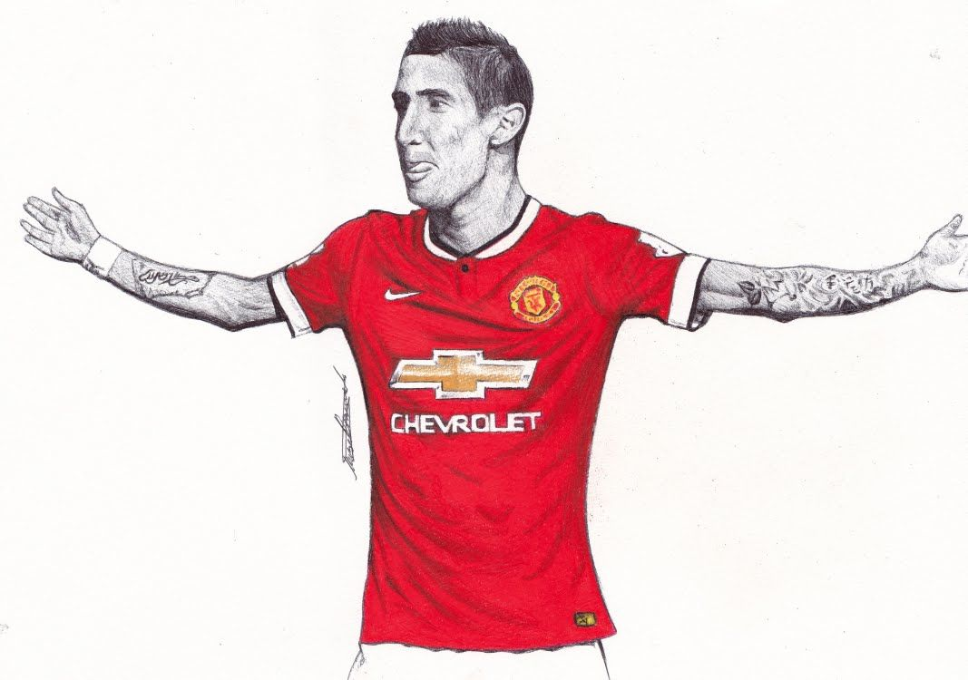 Pen Drawing Of Angel Di Maria Manchester United Freehand Art Angel Drawing Pen Drawing What To Draw
