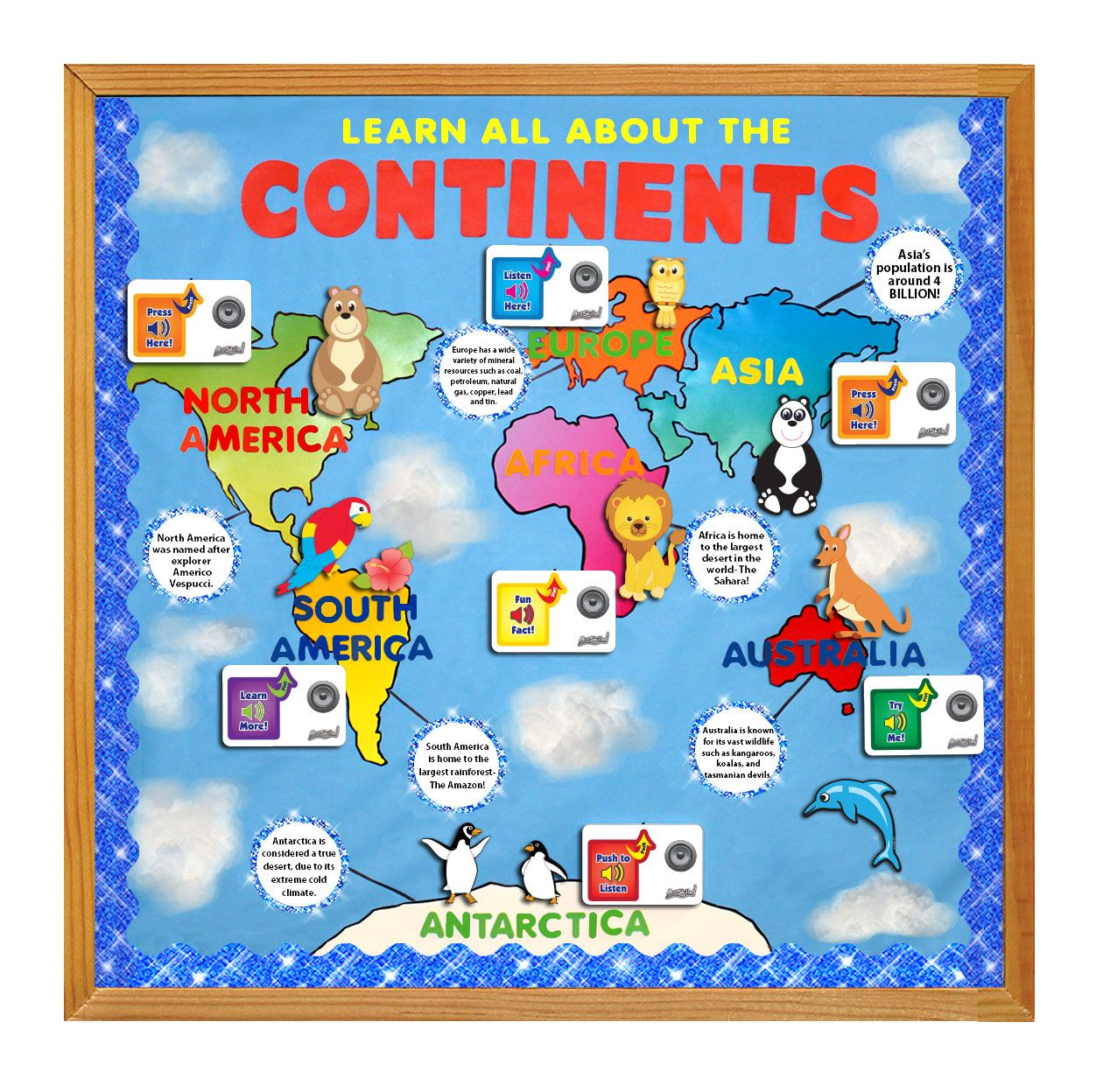 Bulletin Board Inspiration Teach Your Students About The Continents Using The Poster Sound Re Teaching Social Studies Classroom Decorations School Decorations