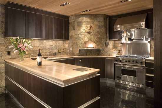 Alluring Interior Renovation with Sophisticated Design: Sleek Modern Kitchen  Design Stone Wall Mountain Queen ~