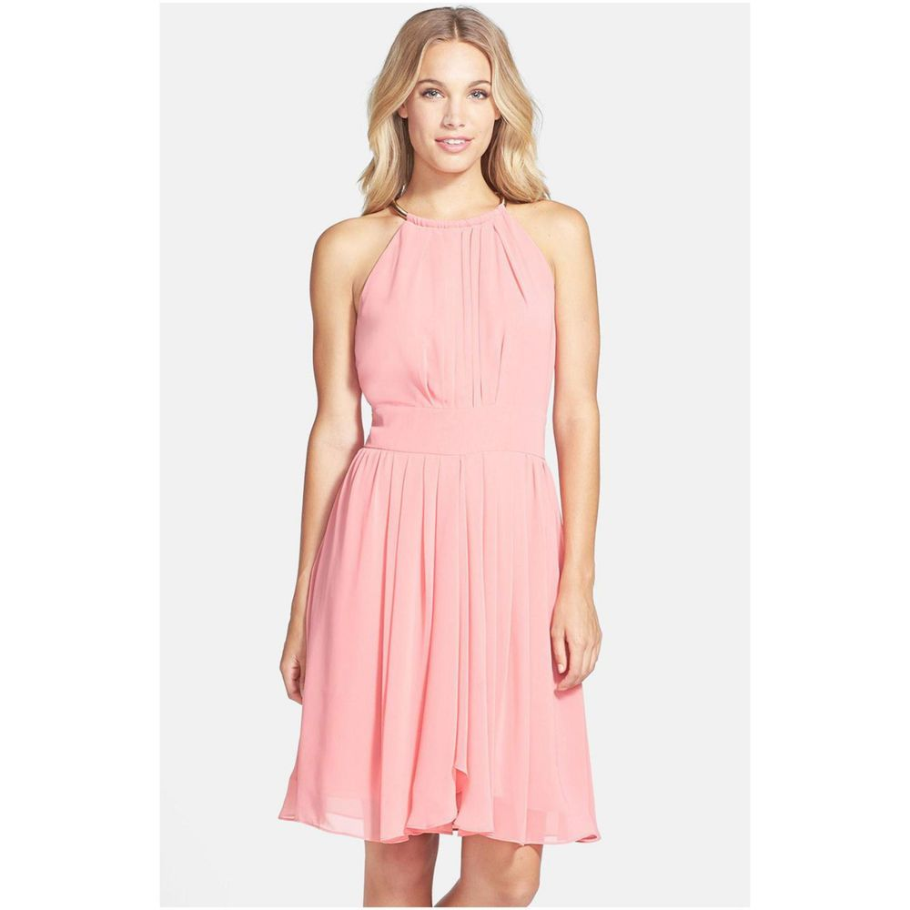 Eliza J Pleated Chiffon Fit & Flare Dress CORAL SIZE 8 #104 NWT