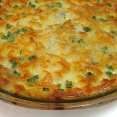 Crustless Quiche. We LOVE this recipe! It's also nice and quick. :) Yummy. (I do not use all of the butter).