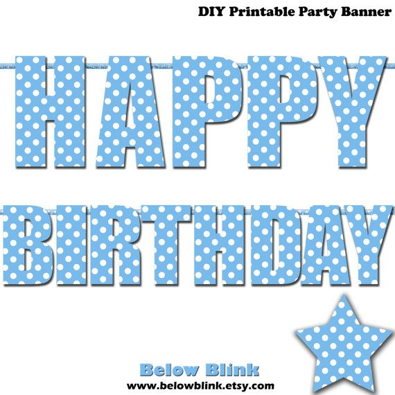 photo relating to Happy Birthday Lettering Printables referred to as Blue Pleased Birthday Letter Banner, Blue Polka Dots, Image