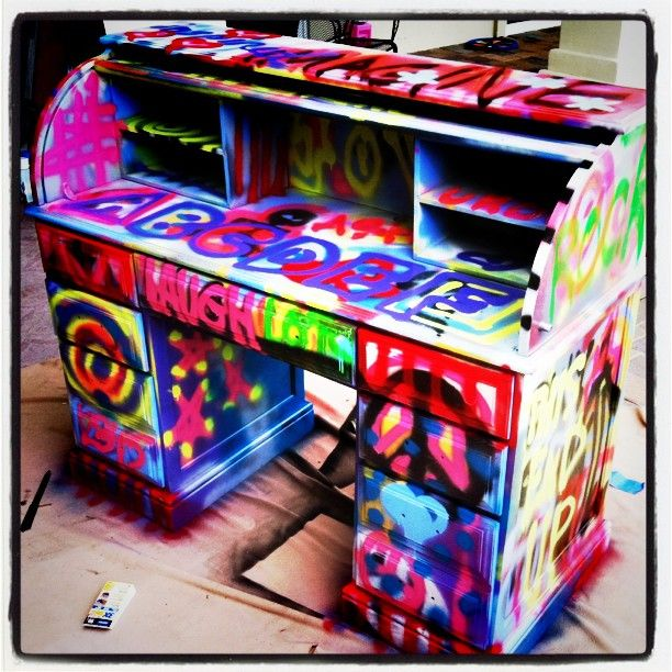 Spray Painted Thrift Store Desk. Great For A Kids Room. Graffiti  FurnitureFunky ...