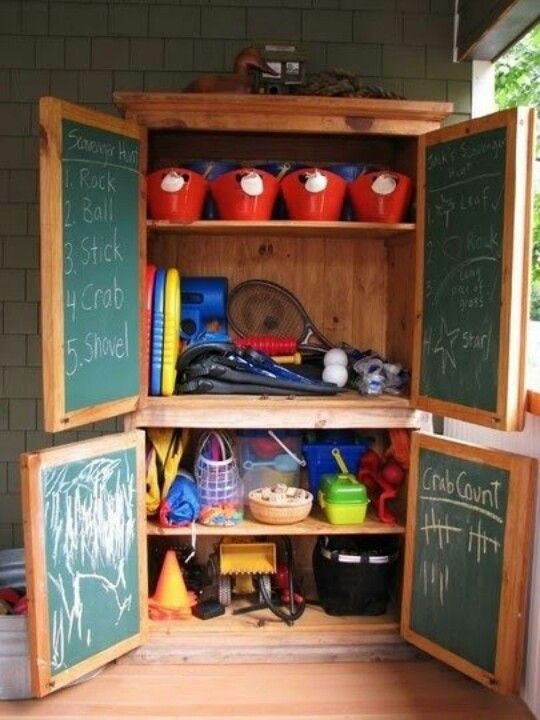 Organize Outdoor Toys #toyorganization #toys Repurposed / Upcycled Wardrobe  With Chalkboard Interior Doors And