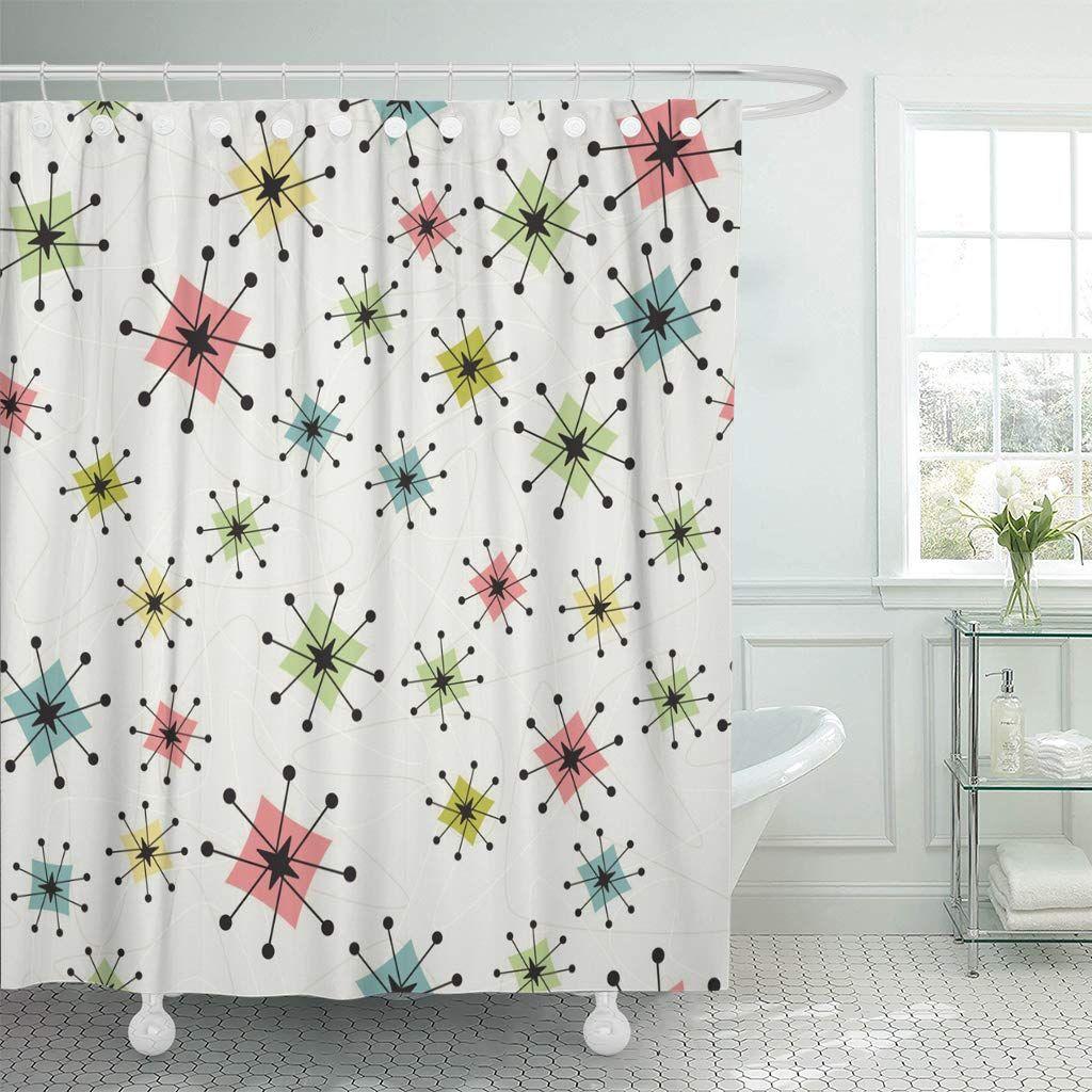 Emvency Shower Curtain Vintage Atomic Stars Retro Pattern On Of