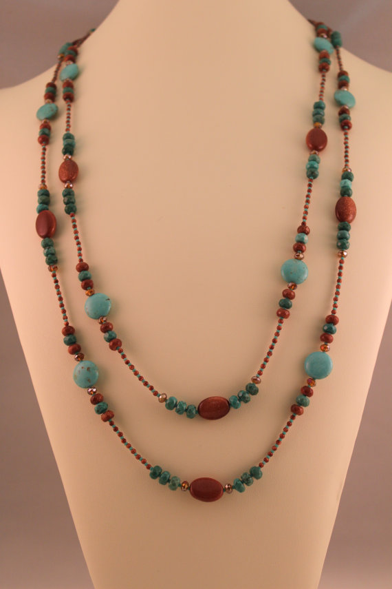 Photo of Magnesite, Goldstone, and Czech Crystal Long Single Strand Beaded Statement Necklace