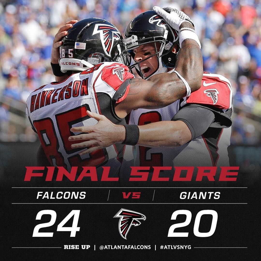 That S It The Falcons Finish Off The Comeback To Beat The Giants And Start The Season 2 0 Atlvsnyg Atlanta Falcons Football Falcons Atlanta Falcons Rise Up