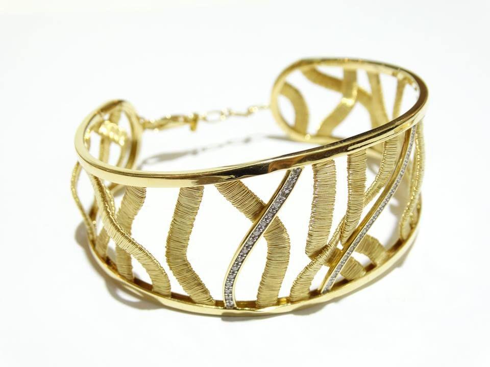Bracelete escrava fios ouro 18k com diamantes brillhantes