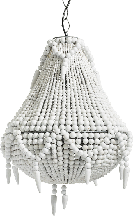 White Beaded Chandelier from Out There Interiors