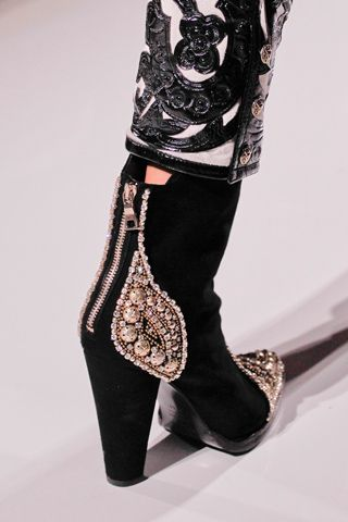 BALMAIN black bootie with jewel elements, 2012 RTW collection #boots