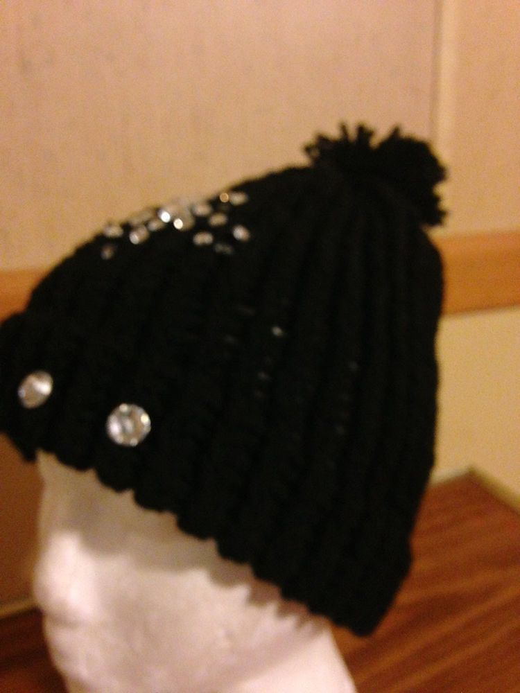 Blinged out Toboggans Hand-knitted Hat, Fits Most #NA
