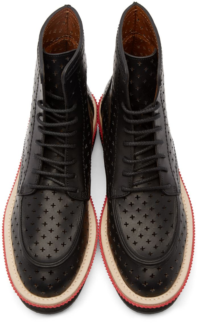 Givenchy: Black Leather Perforated Cross Boots | SSENSE
