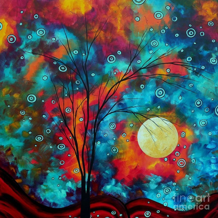 42 Colorful Art In 2020 Moon Painting Abstract Tree Painting Abstract Art Landscape