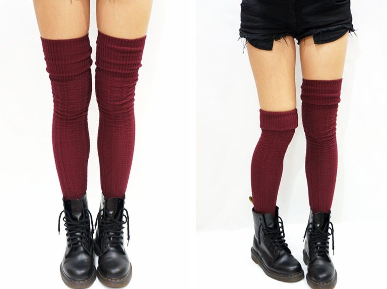 aecf5a1fdab36 Cozy Cable Knit Thigh high socks Boot socks -Burgundy from ...