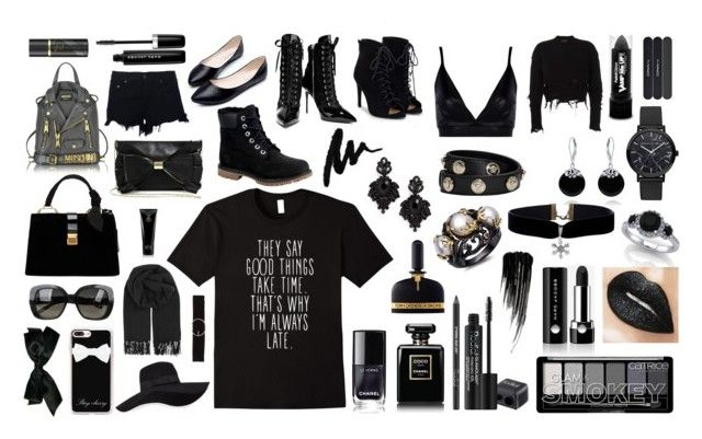"""""""black black black"""" by bookworm528 on Polyvore featuring Rodial, Chanel, Marc Jacobs, Urban Decay, Tom Ford, Bling Jewelry, Tasha, Versace, San Diego Hat Co. and Casetify"""