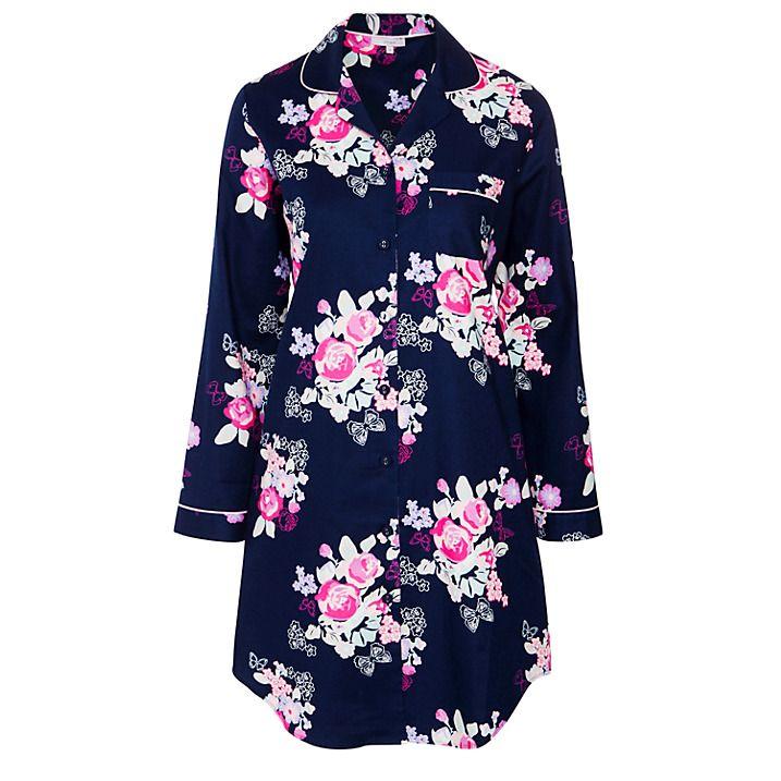 Buy John Lewis Large Floral Nightshirt, Navy, 8 Online at johnlewis.com