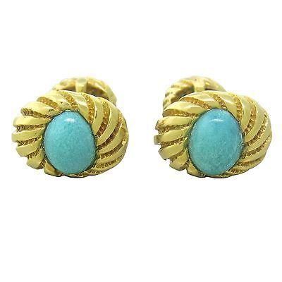 Vintage Tiffany & Co. Jean Schlumberger 18k Gold Turquoise Cufflinks