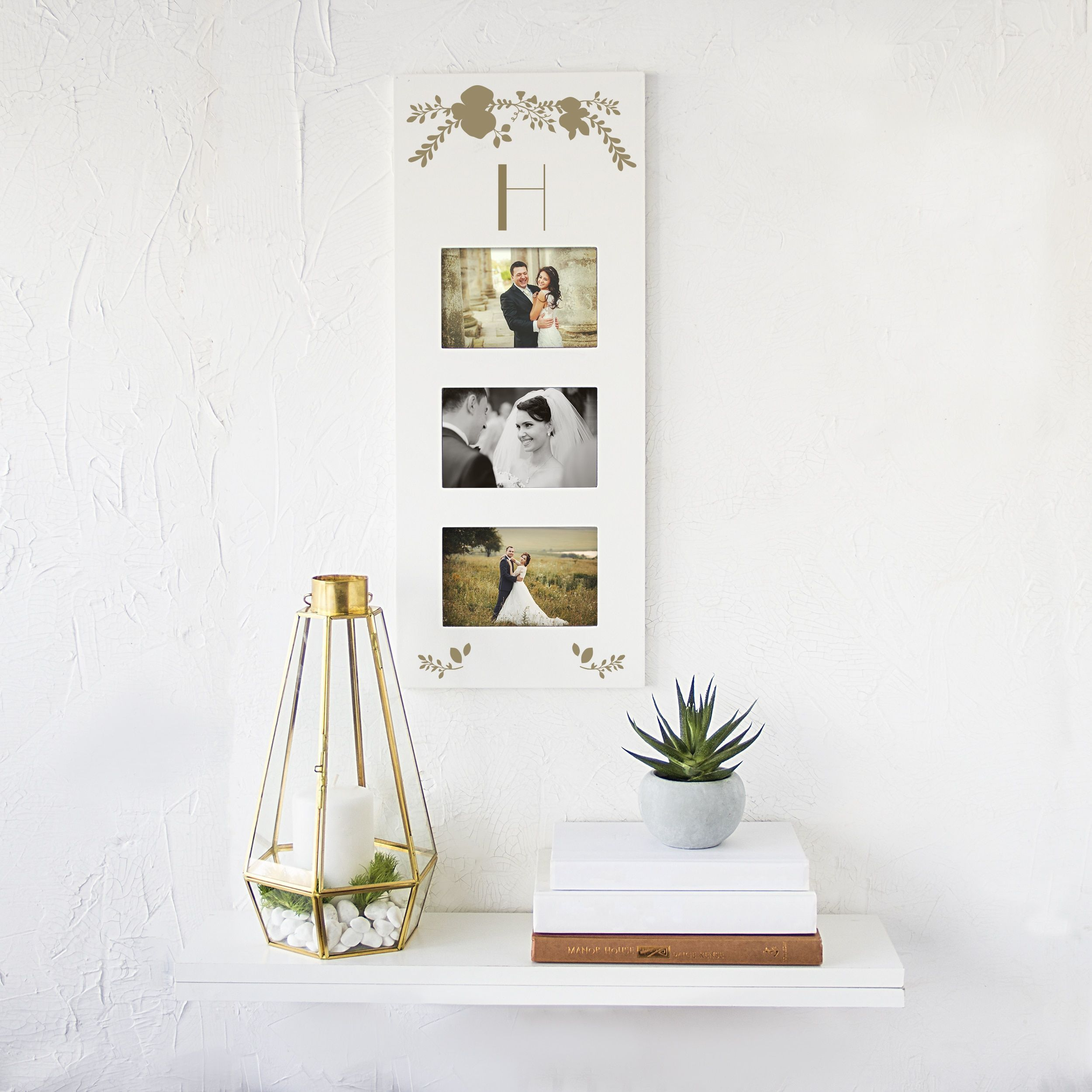6 pane window frame ideas  personalized gold three window wedding picture frame  products