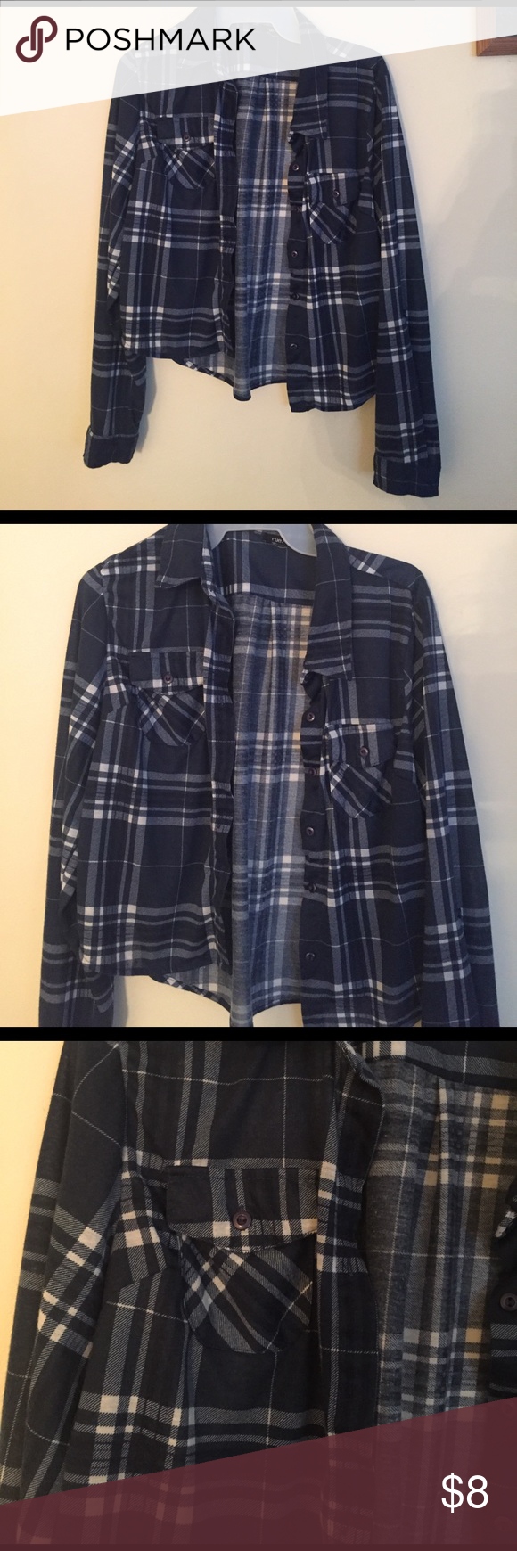 Rue21 Navy Blue and White Cropped Plaid Shirt Rue21 Blue and White Cropped Plaid Flannel. Buttons up. Super cute. Size Large. Like new, worn once Rue21 Tops Button Down Shirts