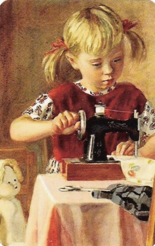 N123-1-SWAP-PLAYING-CARD-GIRL-DOLL-SEWING-MACHINE