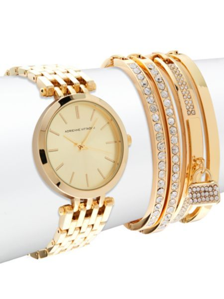 63acd4e128183b Adrienne Vittadini - Watch   Crystal-Studded Bracelet- Set of 5