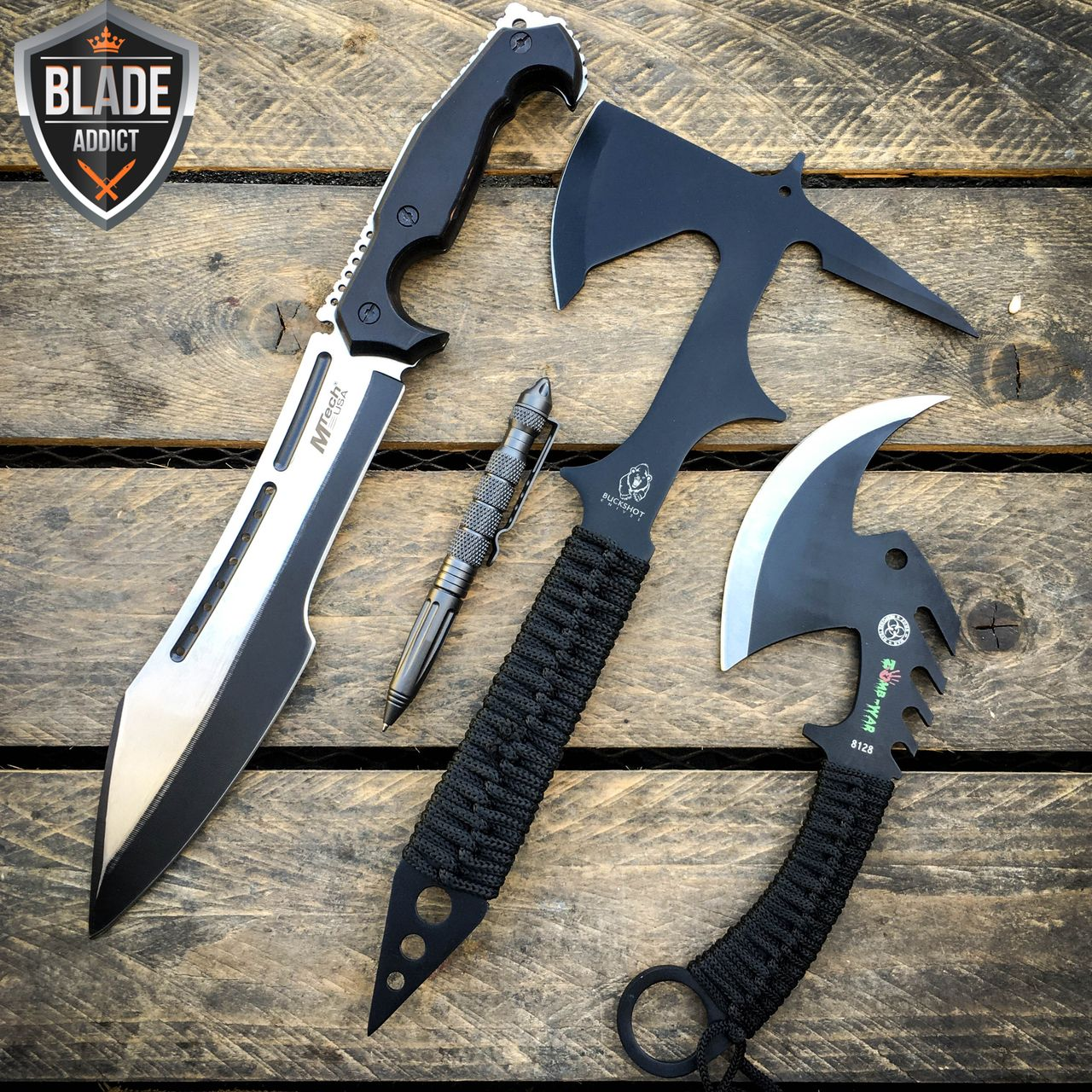4pc Camping Outdoor Tactical Black Survival Machete Fixed