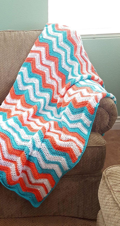 Crochet Afghan, Crochet Chevron Blanket, Crochet Blanket, Lap ...