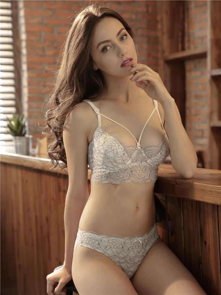 df3fbe668e Ultra-thin Sexy Bra Set Unlined Push Up Underwear Women 3 4 Cup Fashion  adjustable strap brief sets Push up Vs Bra