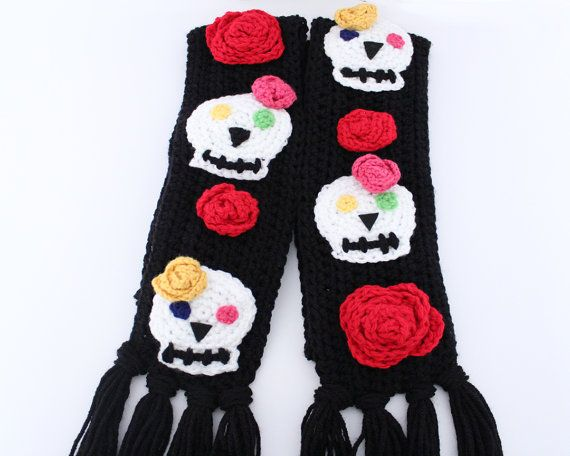 Sugar skull crochet scarf, Day of the Dead unique scarf, sugar skull ...
