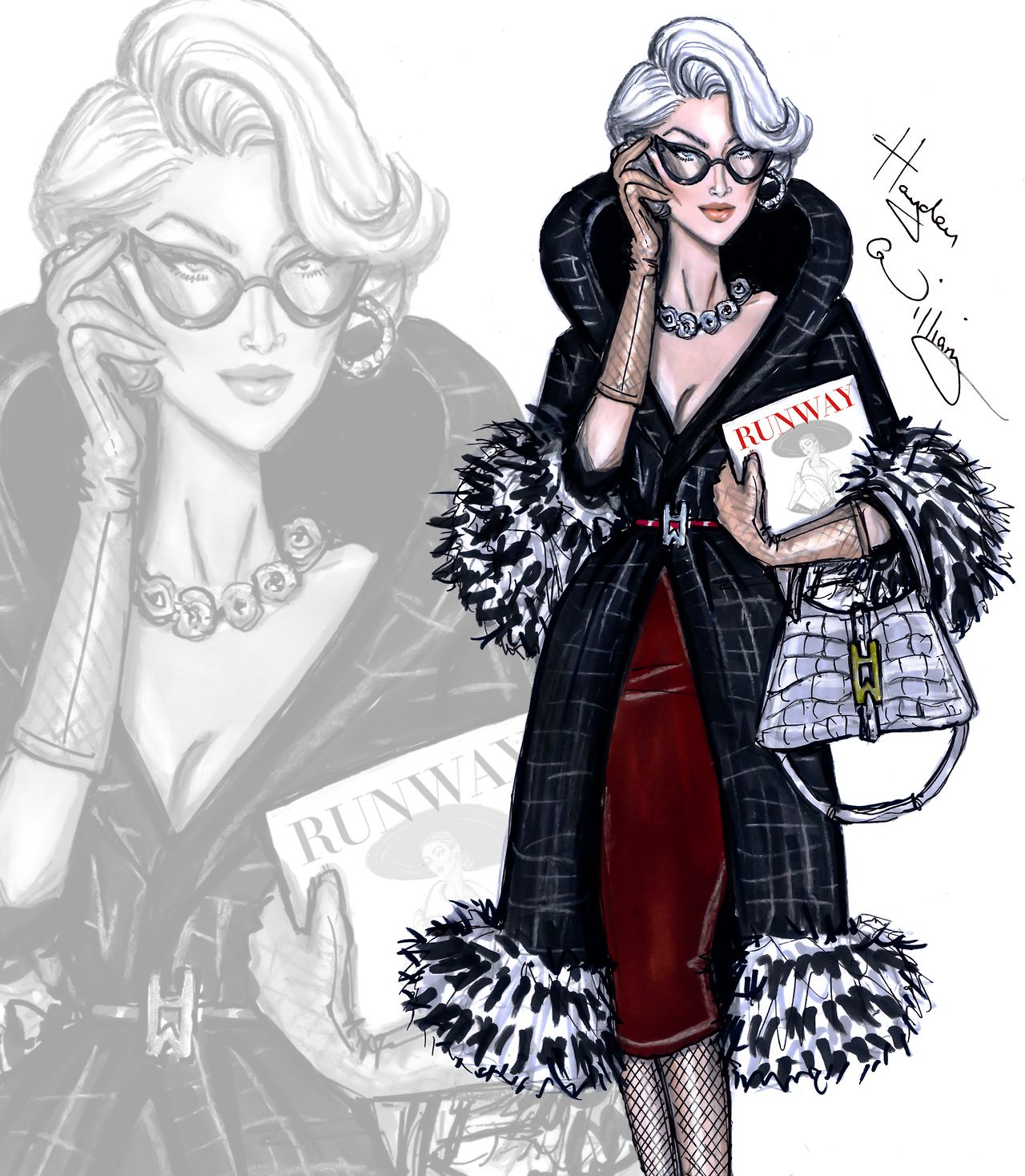 Hayden Williams Fashion Illustrations | Miranda Priestly by Hayden Williams