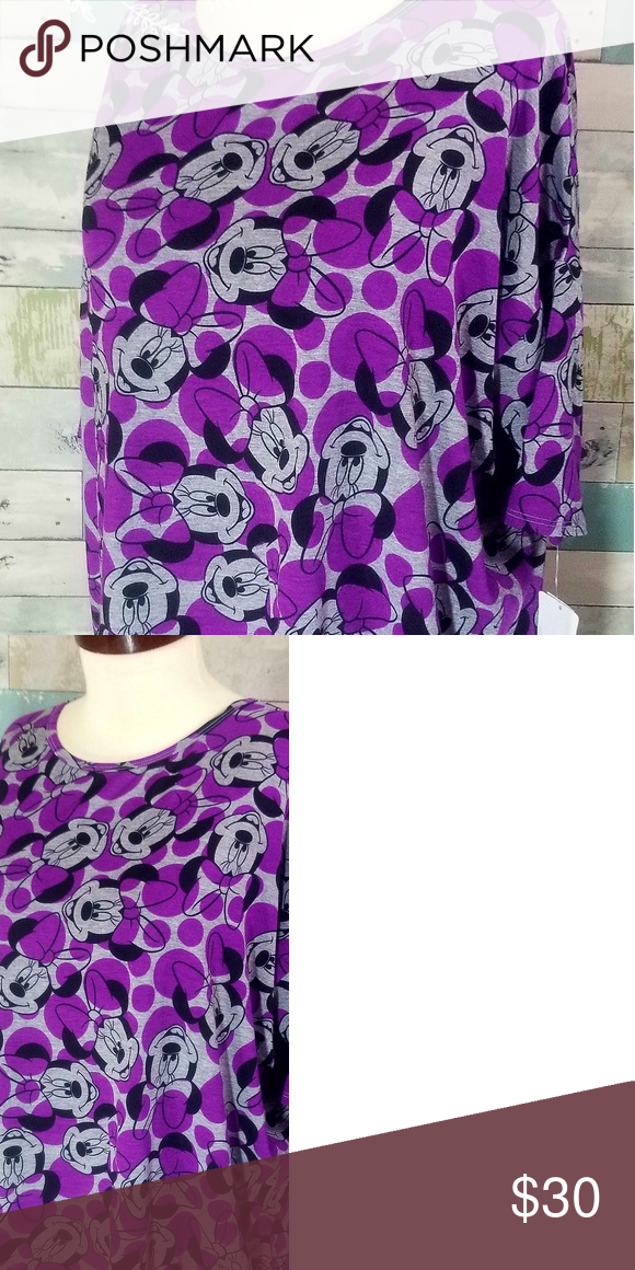 73a5a6f4f3f85 Disney collection Minnie Mouse large Lularoe Irma Adorable large lularoe  disney collection Irma with Minnie mouse. Purple, black, gray.