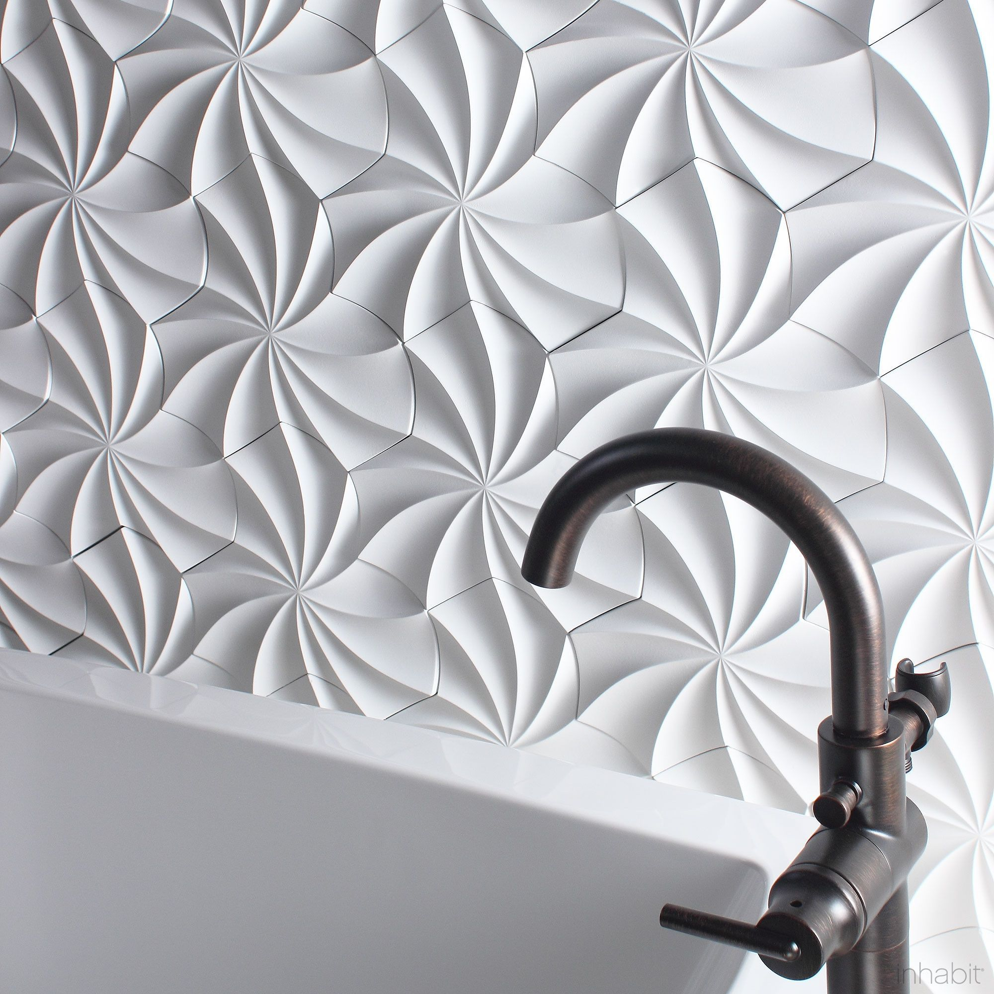 Kaleidoscope cast architectural concrete tile white for 3d concrete tiles
