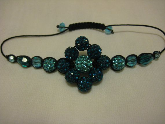 Peacock Blue and Turquoise Crystal Pave Bead by JadedJewelsUK, £12.00