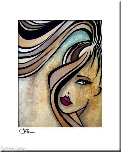 Original Abstract Painting Modern Art Face Print by Fidostudio WHERE HAVE YOU