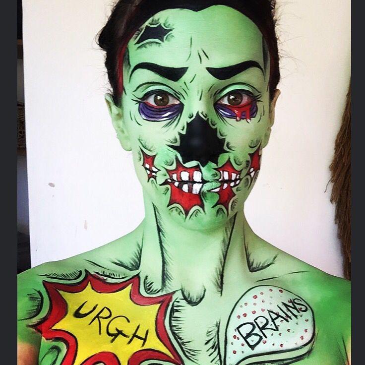 pop art makeup zombie makeup more halloween pinterest. Black Bedroom Furniture Sets. Home Design Ideas