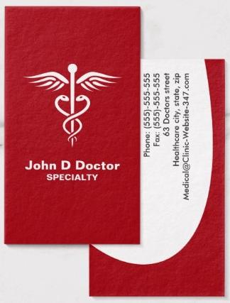 White caduceus on red medical doctor or nurse business cards modern white caduceus on red medical doctor or nurse business cards modern and elegant design colourmoves Choice Image